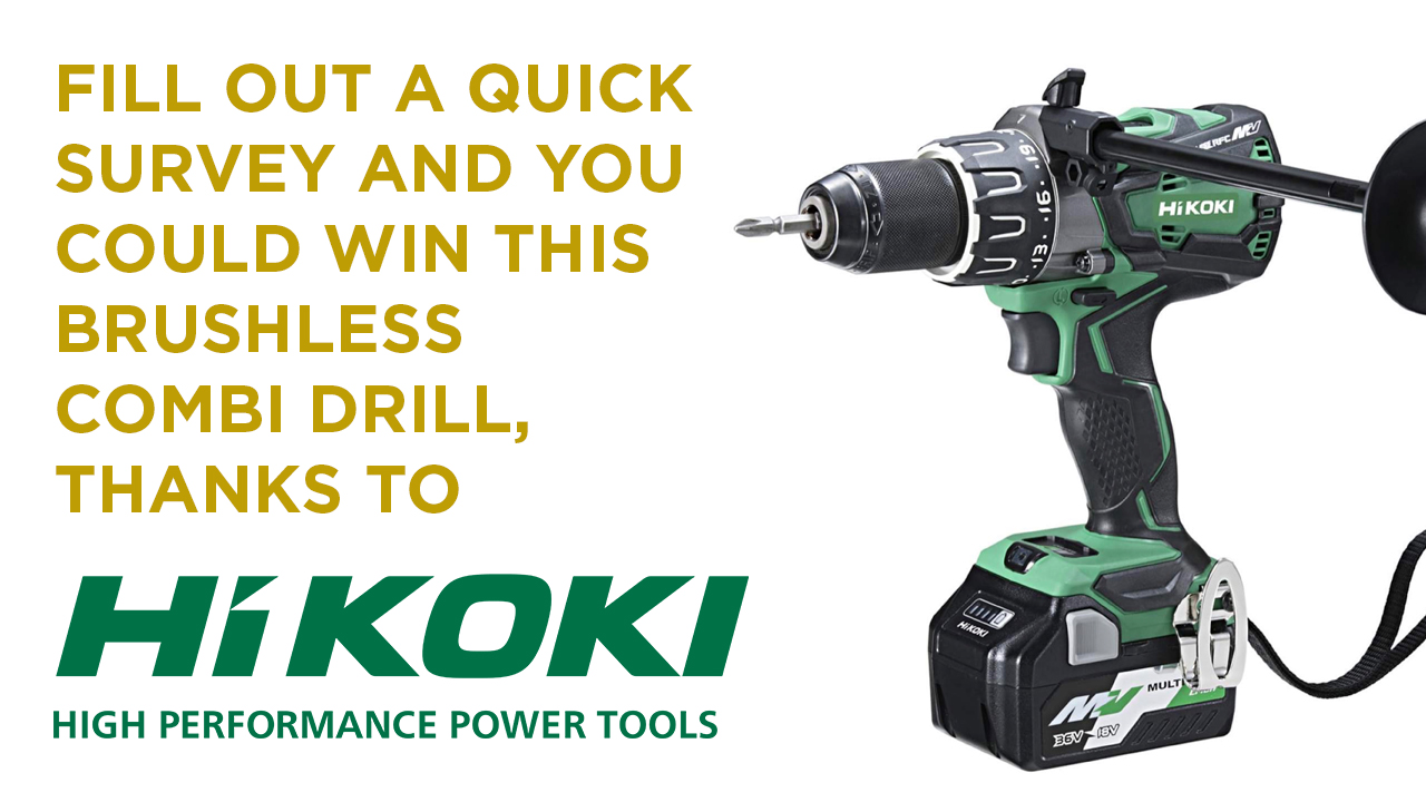 Fill in a quick survey for your chance to win a HiKOKI DV36DAX 36V Multi Volt Brushless Combi Drill image